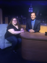 Me, too excited for words, with one of my celebrity crushes, Jimmy Fallon.