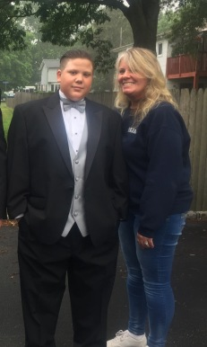Heinrich and Mom before his 8th grade dance in June 2017